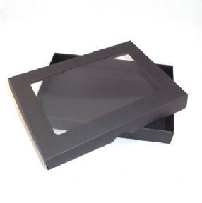A5 Black Greeting Card Boxes With Aperture Lid